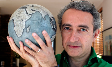 Simon Garfield with globe